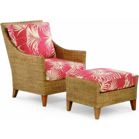 Wicker and Rattan Chair and Ottoman Set