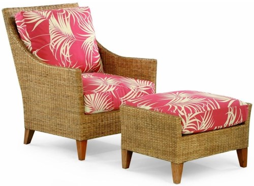 Braxton Culler 1965 Wicker and Rattan Chair and Ottoman Set