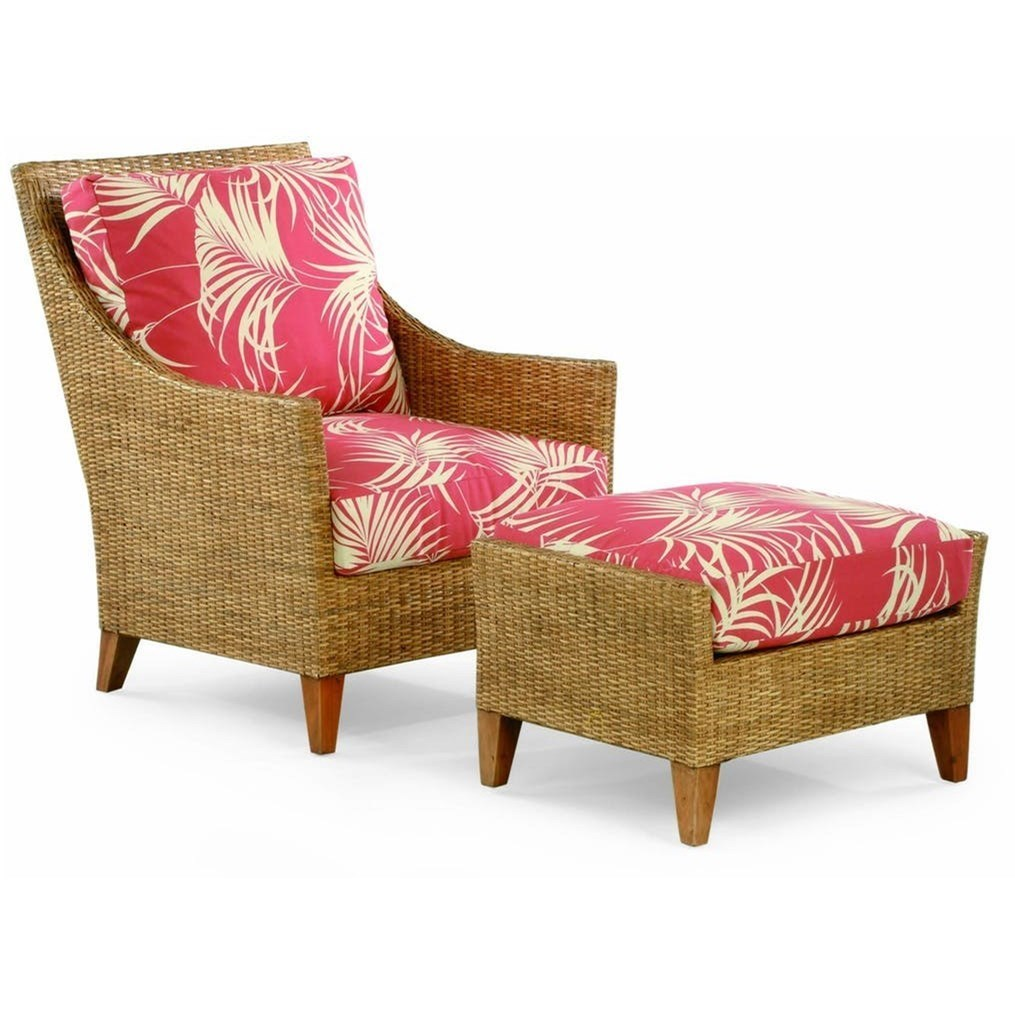 Vendor 10 1965Wicker And Rattan Chair And Ottoman Set
