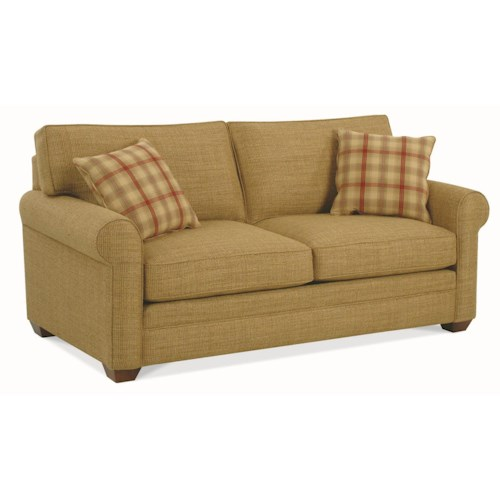 Braxton Culler 728 Casual Two Seater Loft Sofa with Rolled Arms and Exposed Wood Feet