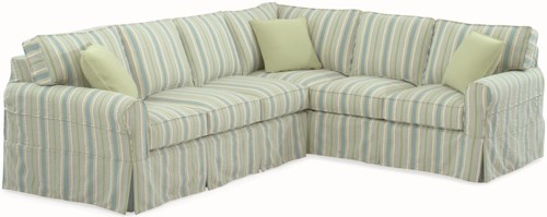 Braxton Culler 728 Casual Sectional Sofa with Rolled Arms and Slipcover