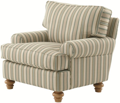 Braxton Culler 773 Upholstered Accent Chair with Turned Wood Feet