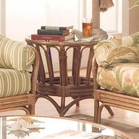 Braxton Culler Moss Landing Round End Table with Wicker Rattan Construction