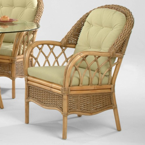 Braxton Culler Everglade Tropical Rattan Dining Arm Chair with Button-Tufting