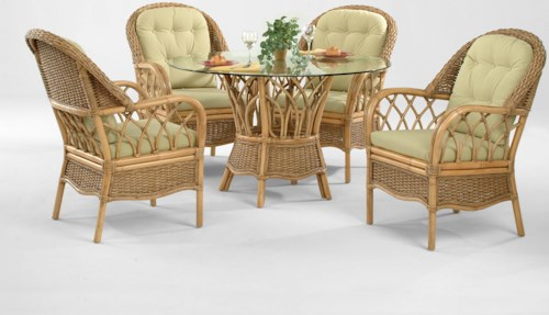Braxton Culler Everglade Tropical Five Piece Rattan Dining