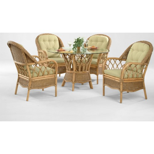Braxton Culler Everglade Tropical Five Piece Rattan Dining Set with Beveled Glass Table