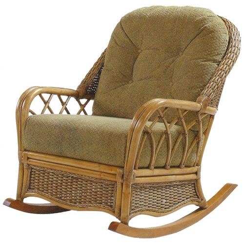 Braxton Culler Everglade Wicker Rattan Rocker with Tufted Seat Back