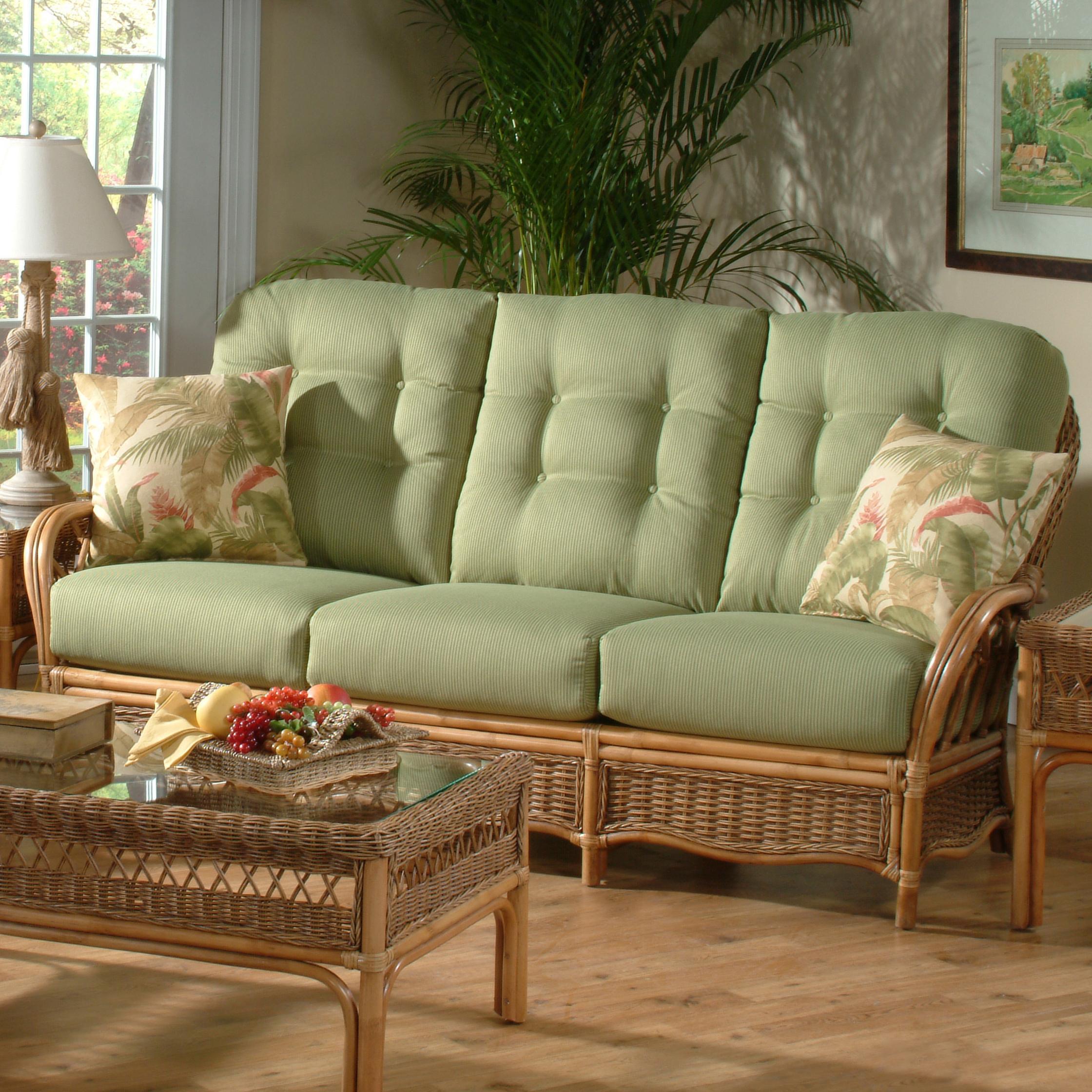 Beau Braxton Culler Everglade Tropical Rattan Sofa