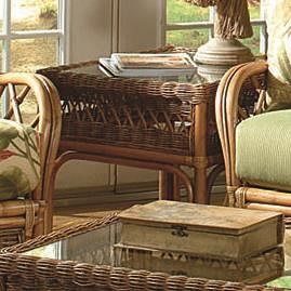Braxton Culler Everglade Rattan End Table w/ Glass Top
