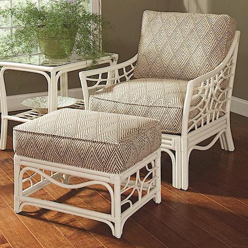Braxton Culler 909 Tropical Rattan Chair and Ottoman Set