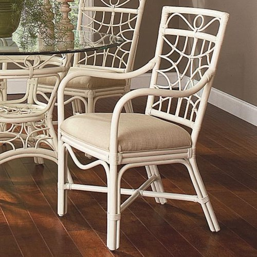 Braxton Culler 909 Tropical Rattan Dining Arm Chair with Upholstered Seat