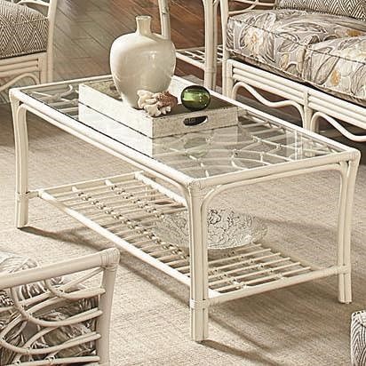 Braxton Culler 909 Tropical Rattan Coffee Table with Slatted Shelf