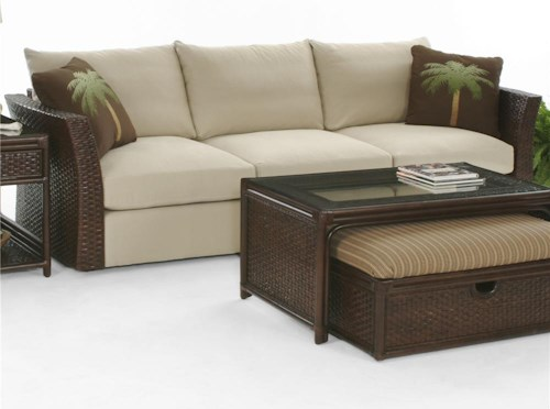 Braxton Culler Grand Water Point Stationary Sofa With Rattan Arms