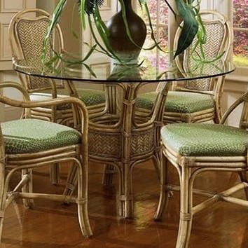 Braxton Culler Acapulco Wicker Rattan Dining Table with Glass Top