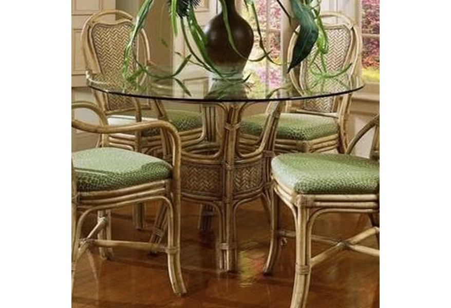 Braxton Culler Acapulco 968 075 Wicker Rattan Dining Table With Glass Top Hudson S Furniture Kitchen Tables