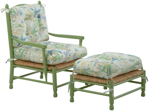 Braxton Culler Accent Chairs Coastal Style Vineyard Accent Chair and Ottoman Set