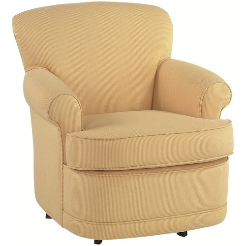 Braxton Culler Accent Chairs Traditional Upholstered Swivel Chair with Round Accent Arms