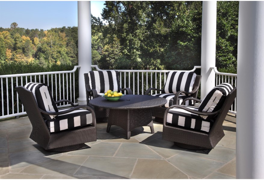 Braxton Culler Brighton Pointe Round Chat Table W Umbrella Hole Story Lee Furniture Outdoor Cocktail Coffee Table