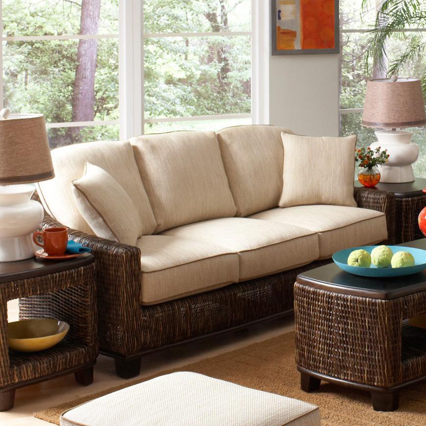 Braxton Culler Casablanca Tropical Wicker Sofa With Track Arms