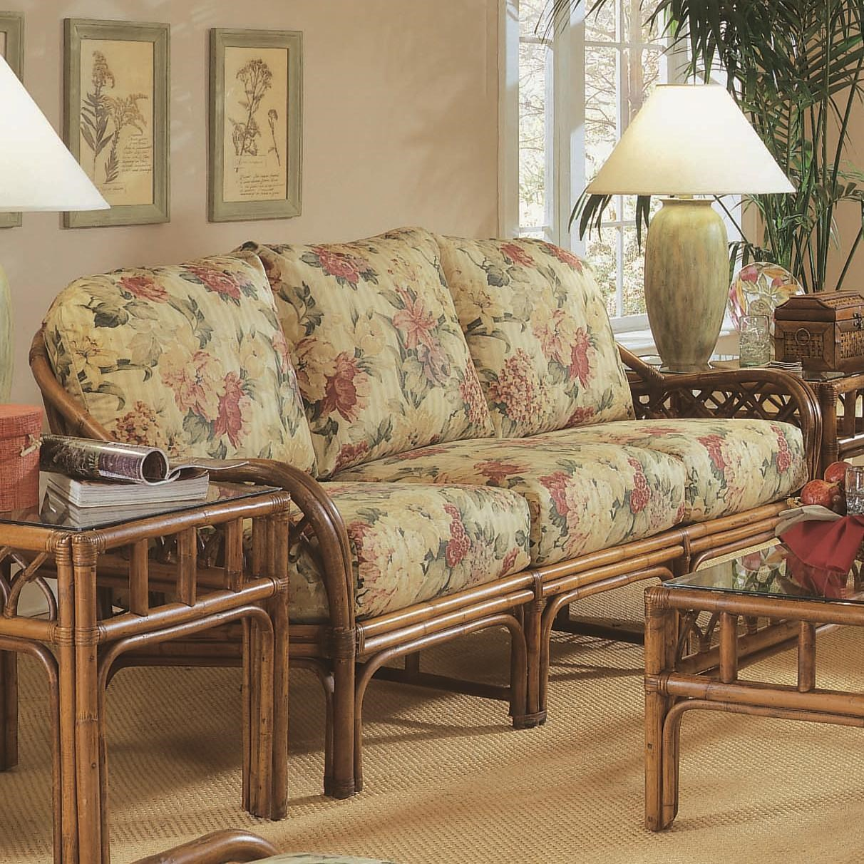 Braxton Culler Edgewater Tropical Rattan Sofa With English Arms