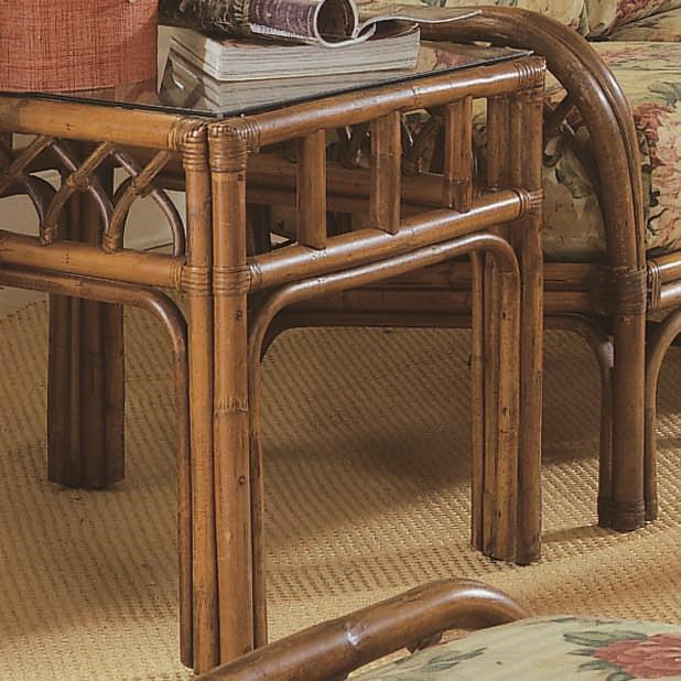 Braxton Culler Edgewater Tropical Rattan End Table With Glass Top