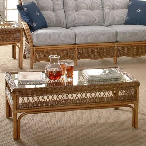 Braxton Culler Nassau Wicker Coffee Table With Glass Top