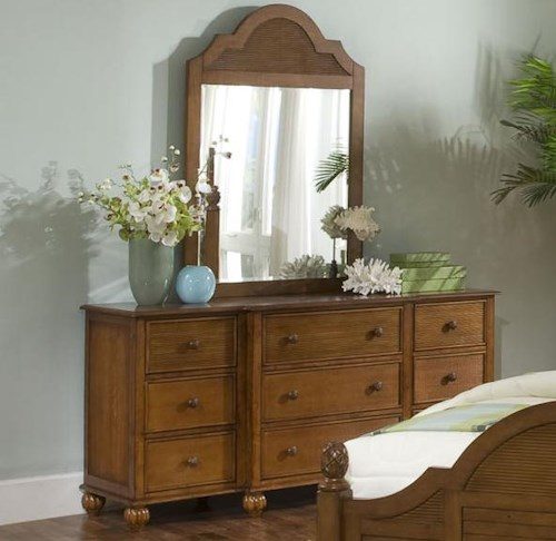 Braxton Culler Palmetto Place Tropical Dresser and Mirror with Nine Drawers and Wood Slat Detailing