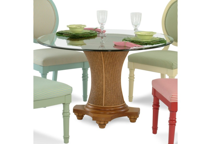 Pedestal Kitchen Table Sets Extraordinary Sawgrass Tropical Round Glass Table With Wicker Pedestal By Braxton Culler At Stuckey Furniture 7814 8