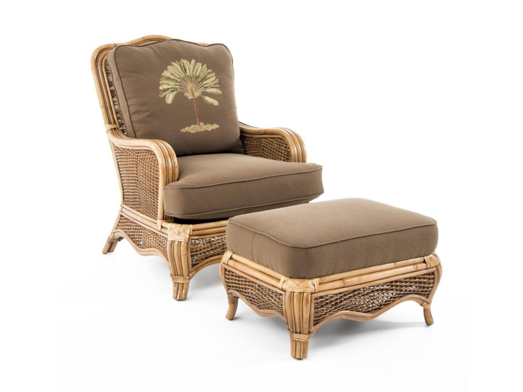Braxton Culler Swood Tropical Rattan Chair And Ottoman Set