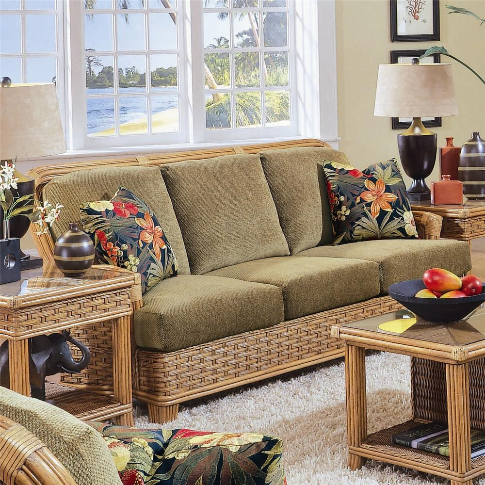 Stationary Sofa with Exposed Wood