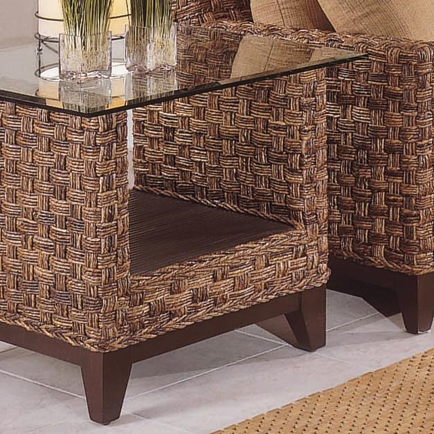 Tribeca 2960 Contemporary Wicker End Table With Glass Top By Braxton Culler