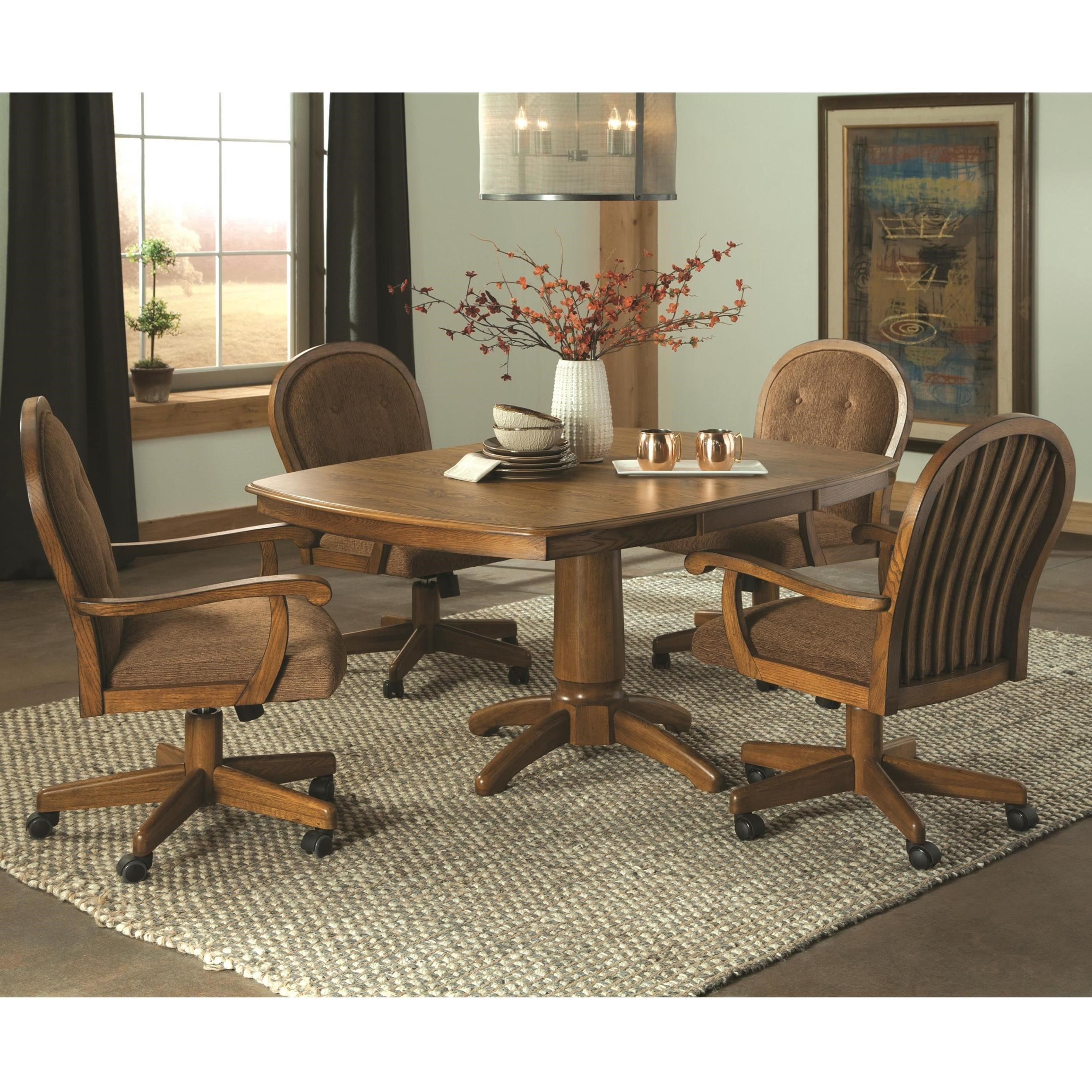 Picture of: Brooks Easy Living 5 Piece Caster Swivel Chair Dining Set Dean Bosler S Dining 5 Piece Sets