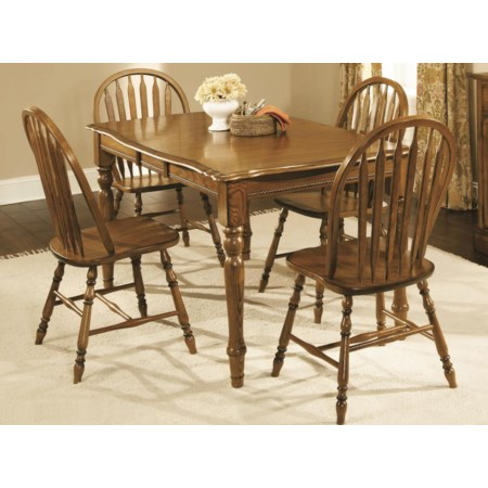 4-Leg Dark Oak Table with 4 Chairs