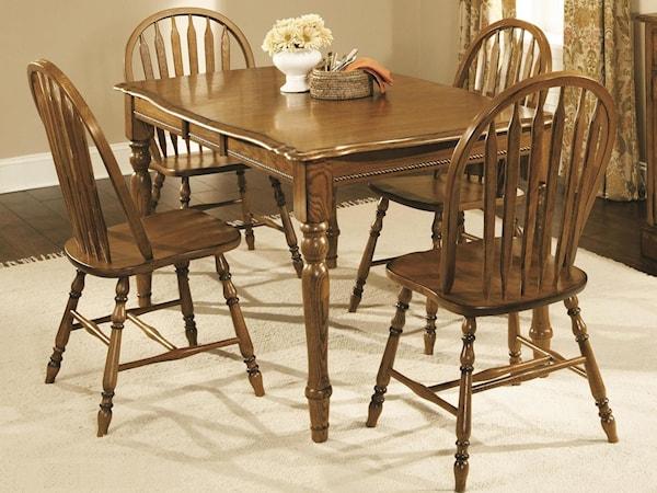 4-Leg Dark Oak Table with 4 Chairs