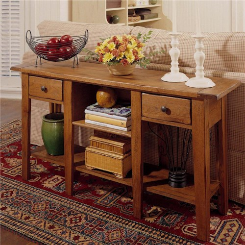 Broyhill Furniture Attic Heirlooms Rectangular Sofa Table with 2 Drawers  and 2 Shelves - Broyhill Furniture Attic Heirlooms Rectangular Sofa Table With 2