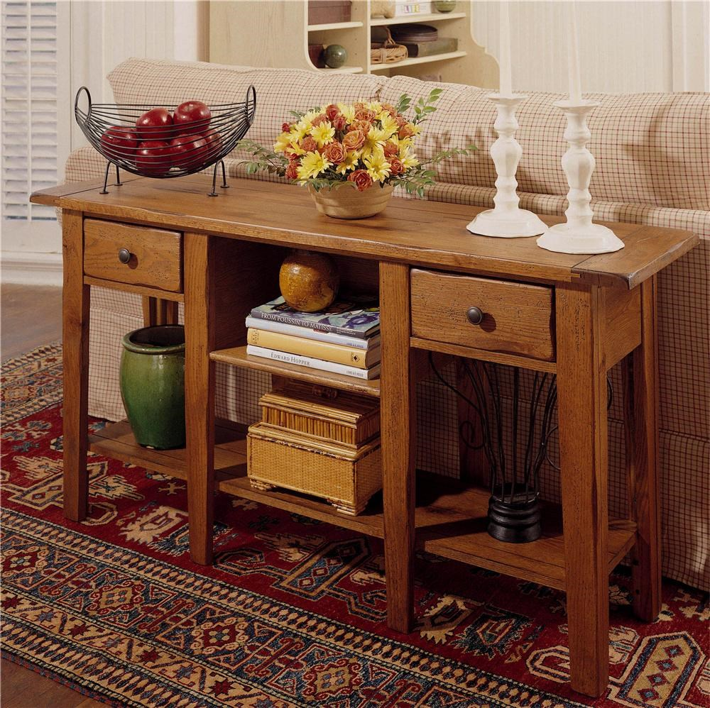 Broyhill Furniture Attic Heirlooms Rectangular Sofa Table With 2 Drawers  And 2 Shelves