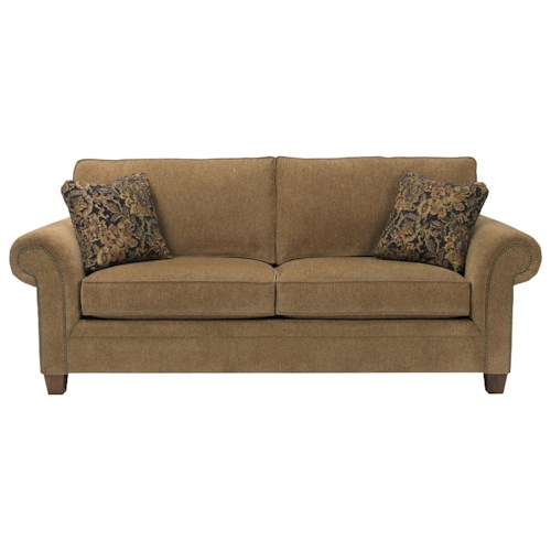 Broyhill express travis transitional sofa with nailhead for B q living room furniture