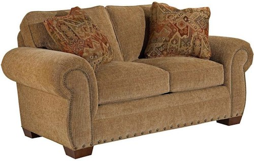 Broyhill Furniture Cambridge Casual Style Loveseat With Nail Head Trim Turk Furniture Love