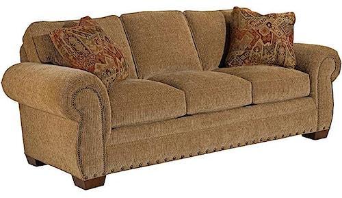 Broyhill Furniture Cambridge Casual Style Sofa with Nail Head Trim