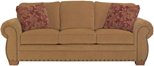 Broyhill Furniture Cambridge Casual Style Sofa with Nail Head Trim
