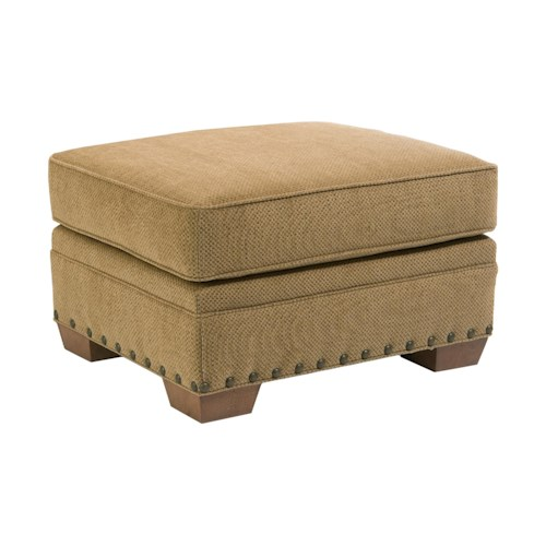 Broyhill Furniture Cambridge Casual Style Ottoman with Nail Head Trim