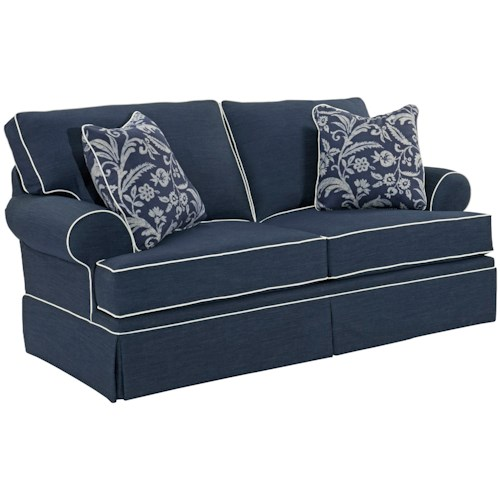 Broyhill furniture emily casual loveseat with skirted base for Furniture 500 companies