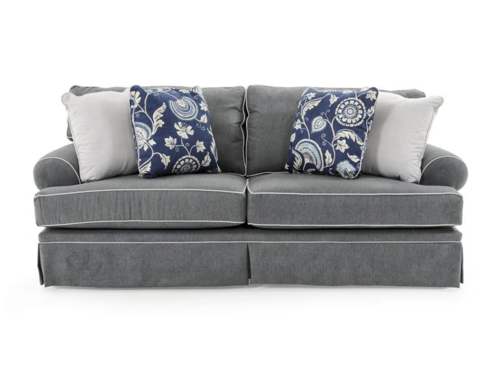 Broyhill Furniture Emily 6262 3 4022 44 Casual Style Sofa With Rolled Arms And Skirt Covered Base Baer S Sofas