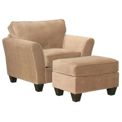 Broyhill Furniture Maddie Contemporary Style Chair and Ottoman