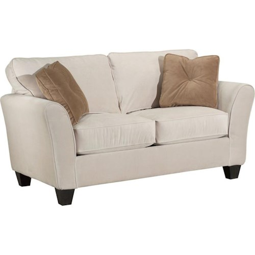 broyhill furniture maddie contemporary style loveseat with flared