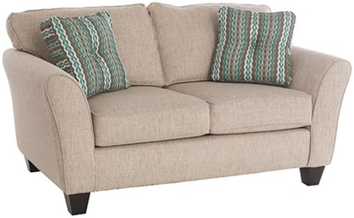 Broyhill Furniture Maddie Contemporary Style Loveseat with Flared Arms