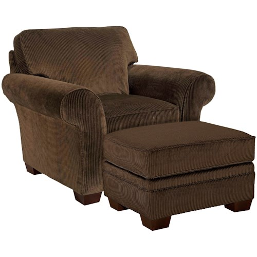 Broyhill Furniture Zachary Chair and Ottoman with Exposed Wood Feet