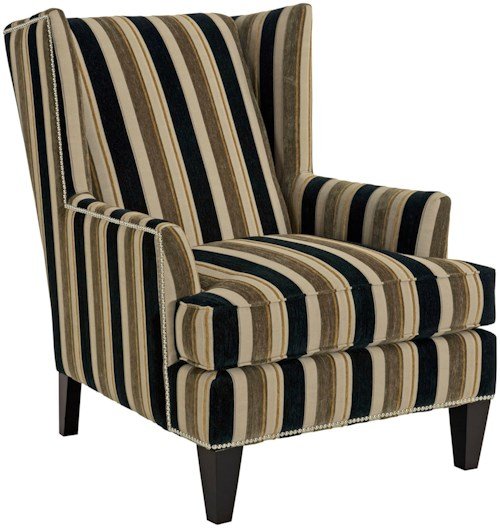 Broyhill Furniture Accent Chairs and Ottomans  Lauren Contemporary Wing Chair with Chrome Nail Head Trim