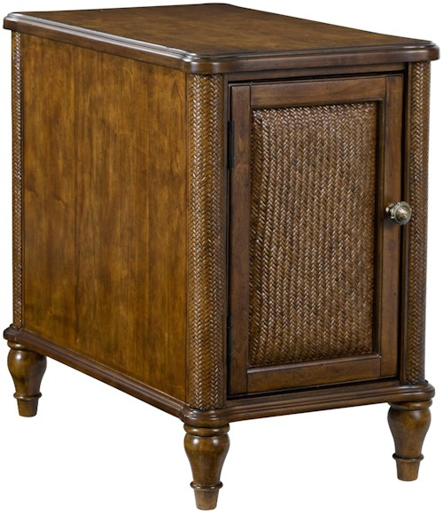 Broyhill Furniture Amalie Bay 1 Door Chairside Table with Raffia and Rattan Accents
