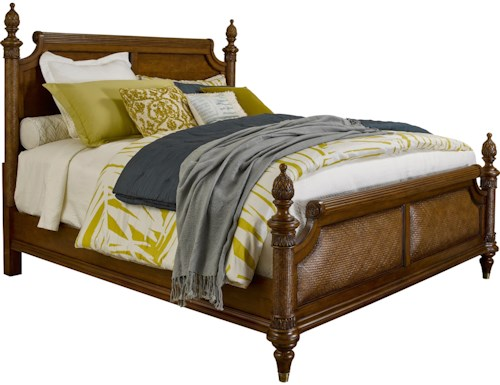 Broyhill Furniture Amalie Bay Queen Panel Bed with Padded Raffia Accents